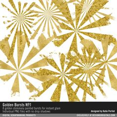 Golden Bursts No. 01 painted in gold bursts for a splash of sparkle #designerdigitals