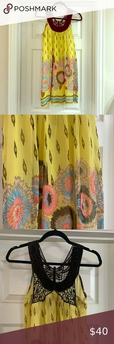 New Crew Yellow Embroidered Peasant Boho Dress Size 12 Details about  /J