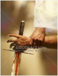 Hand of Jesus grasping the arm of Satan holding a sword.