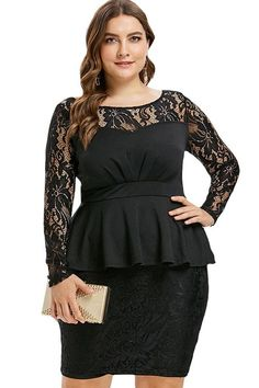 0d25dc96abb Empire Floral Lace Mesh Pencil Plus Size Dress