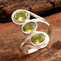 Faceted Peridot Gemstone 925 Sterling Silver Jewelry Solid Ring Size US 7.75 #Unbranded #Cocktail #Wedding