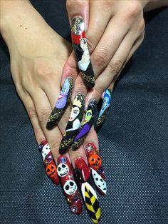 Halloween Disney design done by nail salon zebre Disney Designs, Nail Designs, Disney Halloween Nails, Secret Nails, Nail Desings, Nail Design, Nail Organization, Nail Art Ideas