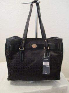 Bag Tommy Hilfiger Handbags Tote II 6932307 990 Color Black Gold Retail $99.00 #TommyHilfiger #TotesShoppers