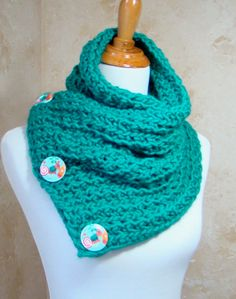 Crochet Scarf Teal Crochet Scarf 3 Button by My2ShayFromOurCorner