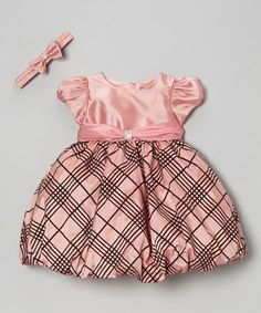 Another great find on #zulily! Pink & Black Plaid Bubble Dress & Headband - Infant & Toddler #zulilyfinds