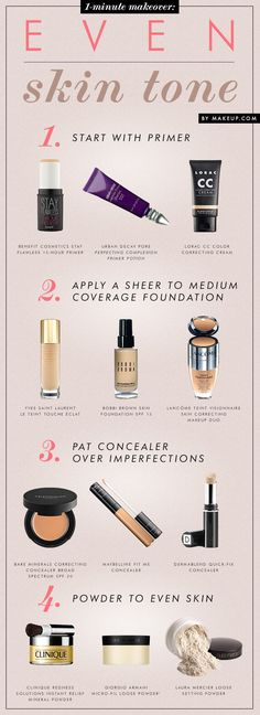 Here you can find a great step by step make-up application process, the order you should use and how to apply make-up.