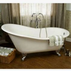Barclay Cast Iron Slipper Tubs with Ball and Claw Feet without Deck Holes - Unfinished Bathtub Makeover, Claw Foot Bath, Cast Iron Bathtub, Soaker Tub, Relaxing Bath, Clawfoot Bathtub, Master Bathroom, Slipper, Bathroom Ideas