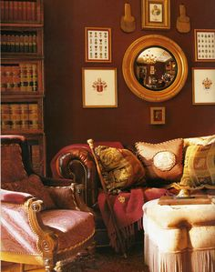 Charles Faudree. Assorted imagery, like maps, family photos, fans, fabrics, etc. or mirrors with vintage frames on walls as accents. | Gryffindor common room