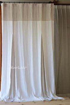 リノテキスタイル限定 ダブルカラー ストレートトップ&ボックスカーテン フラット ひだ山なし リネンカーテン 薄厚地 【リノモデラ グレー&ホワイト】 サイズ 幅130cm×丈250cm~ ¥28,000(税込)~¥42,000(税込) #リネンカーテン #自然素材 #リネン #カーテン #窓