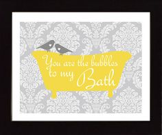 Bathroom Art Print, You are the Bubbles to My Bath Quote, Chevron or Damask Pattern, Modern Bathroom Decor, Birds on Etsy, $15.00