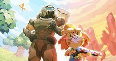 "Isabelle and Doom Slayer in ""Doom Crossing"" Animal Crossing Memes, Animal Crossing Characters, Goblin, Slayer Meme, Video Game Memes, Super Smash Bros, Best Funny Pictures, Game Art, Comics"