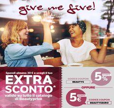 GIVE ME FIVE!!!!!!! EXTRA SCONTO VALIDO SU TUTTO IL CATALOGO BEAUTYPRIVÈ!!  SPENDI ALMENO 30€ E SCEGLI IL COUPON PIÙ ADATTO A TE!!*  BEAUTY5 oppure BEAUTY5EURO   *Promozione valida fino alla mezzanotte di Venerdì 14 Ottobre 2016  #GiveMeFive #promo #sconti #coupon #ExtraSconto #BEAUTY5 #BEAUTY5EURO #Beautyprivè #shopping #shoponline