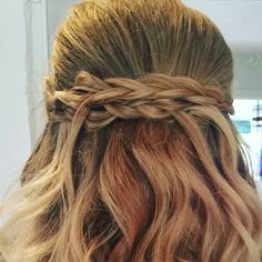 Bridal braids and waves hair by Tracy blonde brides