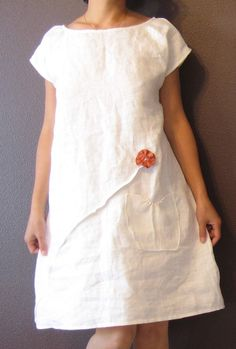 pure linen dress white with rust pleated flowers (clothing, dress, shift, fabric, flower, white, orange)