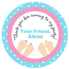 spa party birthday stickers  -  pedicure glamour party, slumber party -- gift tag, goody bag, favor bag. favor sticker, address label
