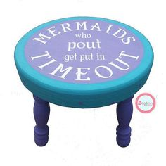 "Handmade Mermaids Who Pout ""Time Out"" Stool - Toddlers - Kids - Hand Painted - Gift - Room Decor My daughter is so going to need this if she has a mermaid theme bedroom! Time Out Stool, Mermaid Bedroom, Mermaid Nursery Theme, Little Mermaid Nursery, Ocean Bedroom, Just In Case, Just For You, Boho Home, Princess Room"