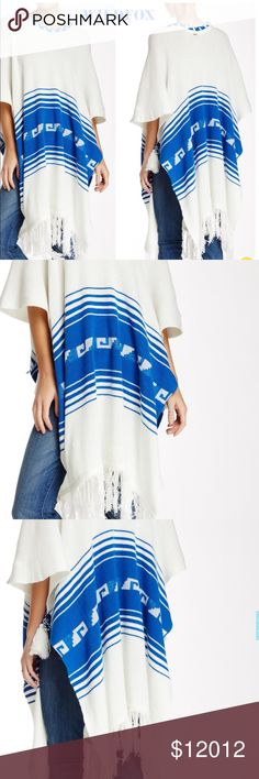 "WILDFOX White Label Frida Traveler Fringe Poncho WILDFOX White Label Frida Traveler Fringe Poncho NWT. NO TRADES! NO LOWBALLS!  - Scoop neck - Kimono sleeves - Knit construction - Striped detail - Fringed hem - Approx. 47"" length - Made in USA  Fiber Content: 60% cotton, 40% acrylic Care: Dry clean Additional Info: Fit: this style fits true to size. 30% additional discount when using the bundle feature. Please LMK if you have any questions. Wildfox Sweaters Shrugs & Ponchos"
