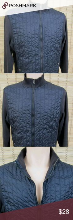 "Calvin Klein Womens Sz L Quilted Full Zip Jacket Calvin Klein Womens Sz L Quilted Front Full Zip Black Jacket  Inventory  #C135  Brand:   Calvin Klein  Condition:  This item is in Very Good Condition!  Item Specifics:  2 Button Front Pockets, Quilted Front, Mock Neck-line, Full Zip  Material:   88% Cotton - 12% Polyester  Size:  Ladies Sz L   Armpit to Armpit:   22""  Length:   26""  Sleeve:   24.5"" Calvin Klein Jackets & Coats"