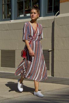 nyc summer outfits wrap dress sneakers