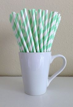 Paper Straws - Mint Green and White Striped Party Straws (25) and DIY Printable Drink Flags / Wedding / Birthday / Baby Shower