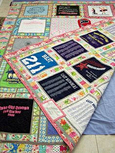 T-shirt quilt front and back by buggletquilts, via Flickr