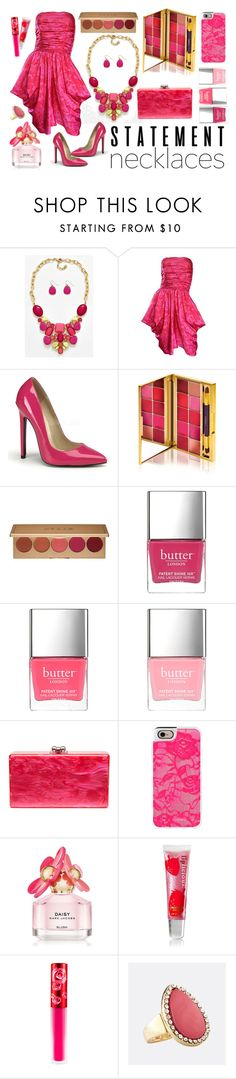 """""""Statement necklace"""" by sunx2 ❤ liked on Polyvore featuring Victor Costa, By Terry, Stila, Butter London, Edie Parker, Casetify, Marc Jacobs, Lime Crime, Avenue and statementnecklaces"""