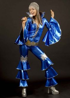 Blue Abba Style 70's Dancing Queen Costume