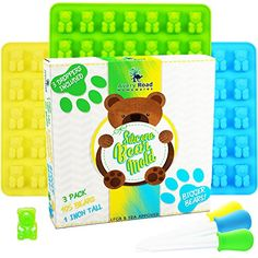 BIGGER Gummy Bear Mold Silicone 3 PACK  3 DROPPERS  RECIPE PDF  LARGE LFGB FDA Gummy Bears molds non BPA Candy Molds  BIG 1 Inch Gummie Bears Ice Cube Chocolate Gelatin Trays Set *** Check out the image by visiting the affiliate link Amazon.com on image.