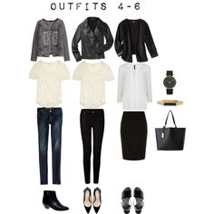 Outfits 4-6 from the 5 Item French Wardrobe by designismymuse on Polyvore featuring MANGO, Madewell, H