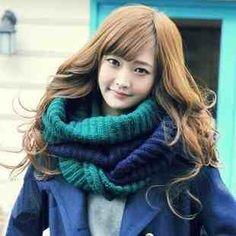 朵朵凡秋冬季撞色学生围脖套头冬天加厚保暖韩国女士针织毛线围巾-tmall.com天猫