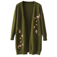 Long Open Front Floral Embroidered Cardigan Army Green (1.755 RUB) ❤ liked on Polyvore featuring tops, cardigans, army green cardigan, cardigan top, long length tops, green cardigan and green top