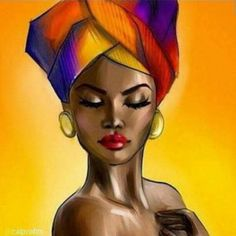 SmileArtDesign Naked African Woman Head Wrap in Yellow Modern Art Painting Canvas Print Wall Art African American Living Art Room Bedroom Home Decor Ready to Hang Made in USA Black Love Art, Black Girl Art, Art Girl, Afrique Art, African Art Paintings, Black Art Pictures, Black Artwork, Afro Art, African American Art