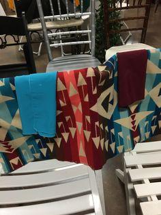 Burgundy and Blue Napkins on the Pendleton Blanket