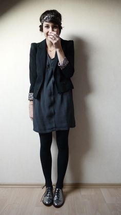 Dark shift dress + Metallic shoes.