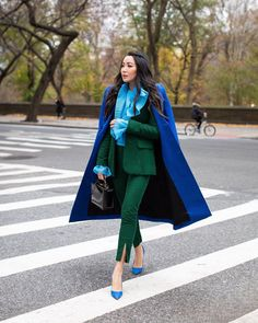 "17.6k aprecieri, 206 comentarii - Wendy Nguyen (@wendyslookbook) pe Instagram: ""Ending 2020 with one of my favorite carousels! Suits suits suits! So many colors, fabrics, and…"" Wendy's Lookbook, Fashion Lookbook, Balenciaga Coat, Blue Suede Pumps, Green Suit, Color Pairing, Color Mix, Sequin Jacket, Burberry Jacket"