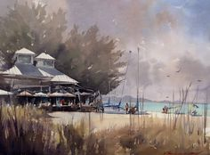 Watercolor seascapes, boats and landscapes by watercolor artist Vladislav Yeliseyev.