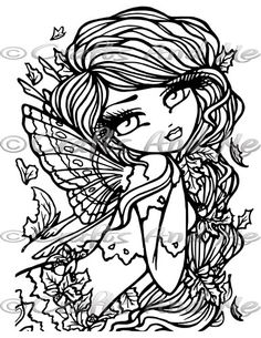 *New* Autumn Digital Stamp Blank Coloring Pages, Fairy Coloring Pages, Adult Coloring Book Pages, Printable Adult Coloring Pages, Coloring Books, Doodle Coloring, Hannah Lynn, Color Pencil Art, Digital Stamps