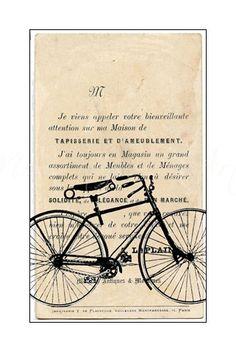 "8x10 Bicycle Art Print, French, Sepia Giclee, ""Parisian Bike I"""
