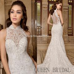 Mermaid Wedding Dresses with Straps high neckline | lace strapless high neck sexy mermaid wedding dresses 2015 bride dress ...