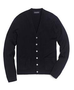 Brooks Brothers navy merino cardigan sweater
