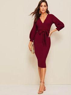 Knot Dress, Wrap Dress, Bordeaux, Belted Dress, Bodycon Dress, Deep V Neck Dress, Bishop Sleeve, Mode Online, Latest Dress