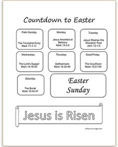 Printable Countdown to Easter | Are you looking for a simple countdown to get ready for Easter. This one starts on Palm Sunday and has daily Bible verses to read as your family prepares their hearts for Easter. Click the pin to print your free copy! Available in color & black and white.