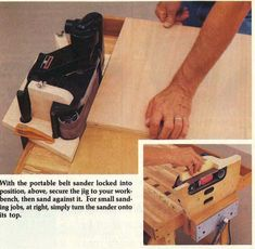 No link. But great idea for a belt sander jig.