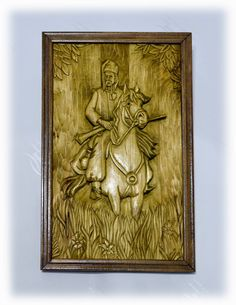 Різьблена картина «Козак на коні» / Carved picture «Cossack horse»