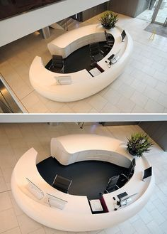 I wouldn't have it in my office but I like the design for a hotel or something. Office Furniture Design, Office Interior Design, Office Interiors, Lobby Reception, Office Reception, Reception Counter Design, Cl Design, Hotel Lobby Design, Interior Design Institute