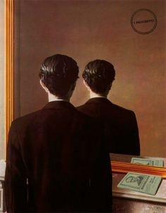 """«Non dovreste aver fiducia negli specchi, giovanotto: mentono così spesso!» E.T.A. Hoffmann  [L'opera che abbiamo falsificato oggi è di René Magritte: """"La Reproduction Interdit"""", olio su tela, 1937. Nell'originale, il libro verde poggiato vicino allo specchio è """"Le avventure di Gordon Pym"""" di Poe.]"""