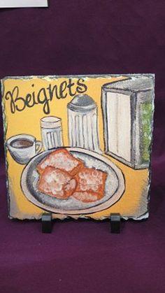 Original Art Beignets on Slate - New Orleans Beignet with Cafe au Lait - New Orleans Artwork - Slate Gift - New Orleans Gift - New Home Gift by SerenityoftheSouth on Etsy Beignets, New Home Gifts, Slate, New Orleans, Vintage Art, Original Art, New Homes, Etsy Shop, The Originals