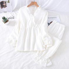 Nursing Pajama Set, Cotton Pyjamas, Loose Sweater, Pajamas Women, Night Gown, Sexy Women, V Neck, Fashion Outfits, Lace