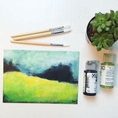 Abstract Landscape Field // nature painting // by ArtSpreadsJoy
