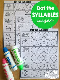 Syllables Worksheet - Dot the Syllables - This Reading Mama. Would erase the words that clarify what the pictures are, so the focus is on phonological awareness. Syllables Kindergarten, Preschool Literacy, Kindergarten Reading, Kindergarten Activities, Teaching Reading, Early Literacy, Teaching Ideas, Learning Phonics, Rhyming Activities